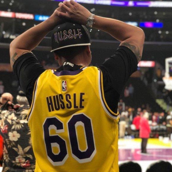 Nike Shirts   Mens Authentic Nike Lakers Jersey Hussle 6   Poshmark